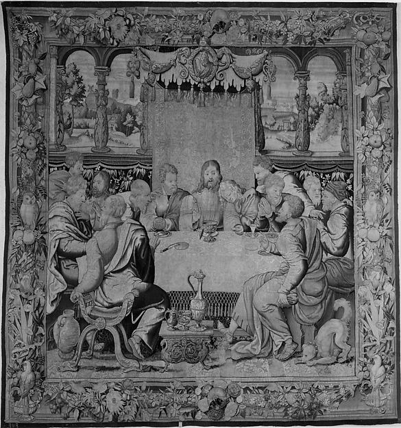 """The Last Supper"" by Michiel Coxie (I) (Netherlandish, Mechelen ca. 1499–1592 Mechelen) , probably, Related to a 1523 print of the Last Supper by Albrecht Dürer (German, Nuremberg 1471–1528 Nuremberg), Related to an engraving of the Last Supper by Marcantonio Raimondi (Italian, Argini (?) ca. 1480–before 1534 Bologna (?)), Related to paintings by Pieter Coecke van Aelst (Netherlandish, Aelst 1502–1550 Brussels) and his pupil, Willem Key, Related to an embroidered orphrey by Barthélemy van den Kerckhove (Judas, Christ, vessel on floor), Woven by Unknown, Flemish, Brussels via The Metropolitan Museum of Art is licensed under CC0 1.0"