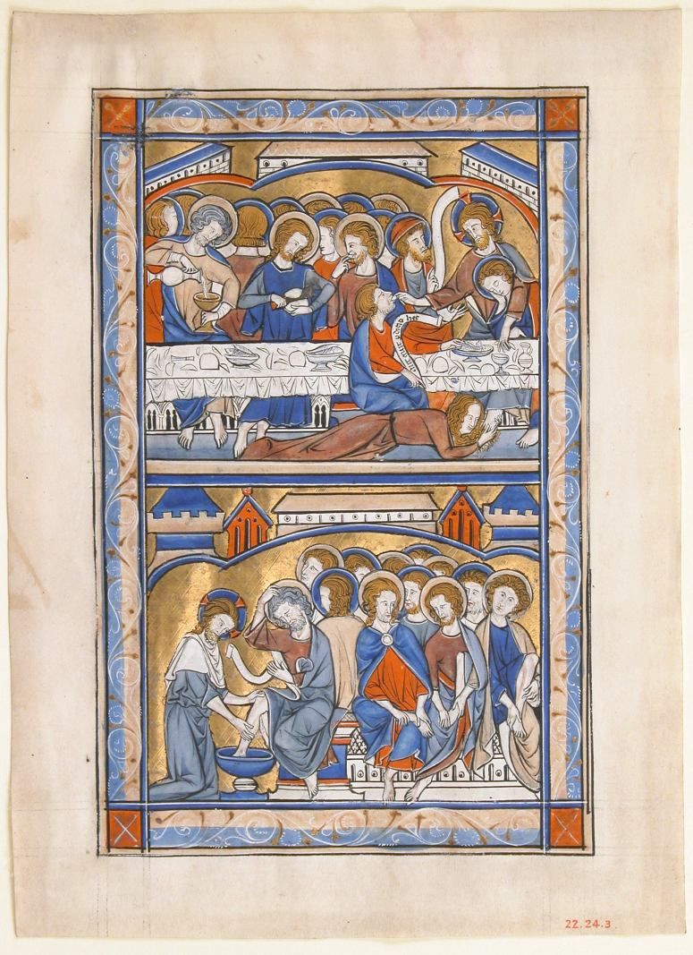 """Manuscript Leaf with the Last Supper and the Washing of the Apostles' Feet Leaf, from a Royal Psalter"" by British via The Metropolitan Museum of Art is licensed under CC0 1.0"